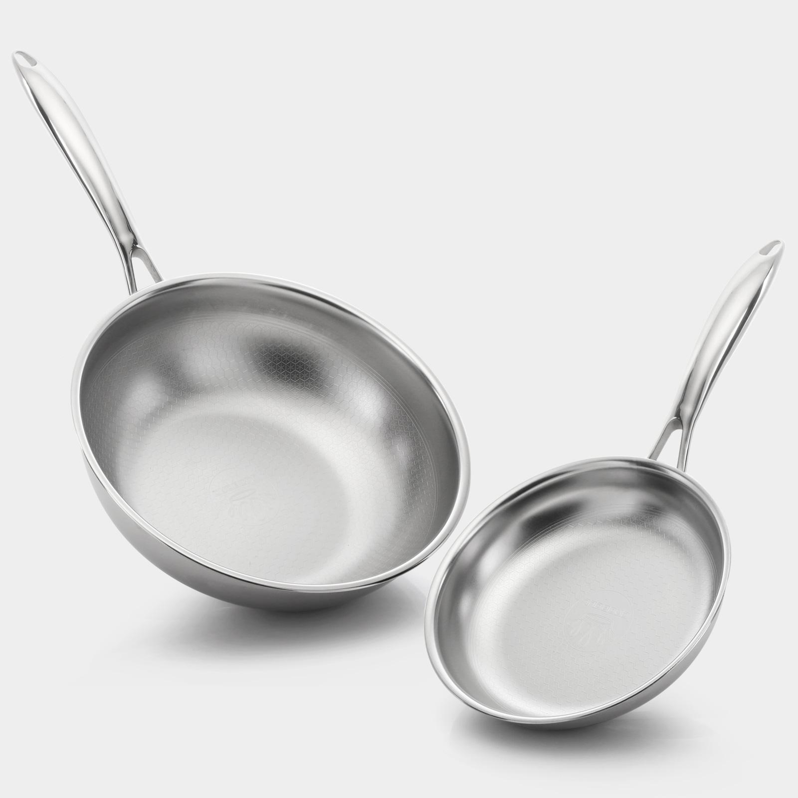 크로벨 허니컴 통3중 스텐레스 2종세트-후라이팬20cm/궁중팬26cm