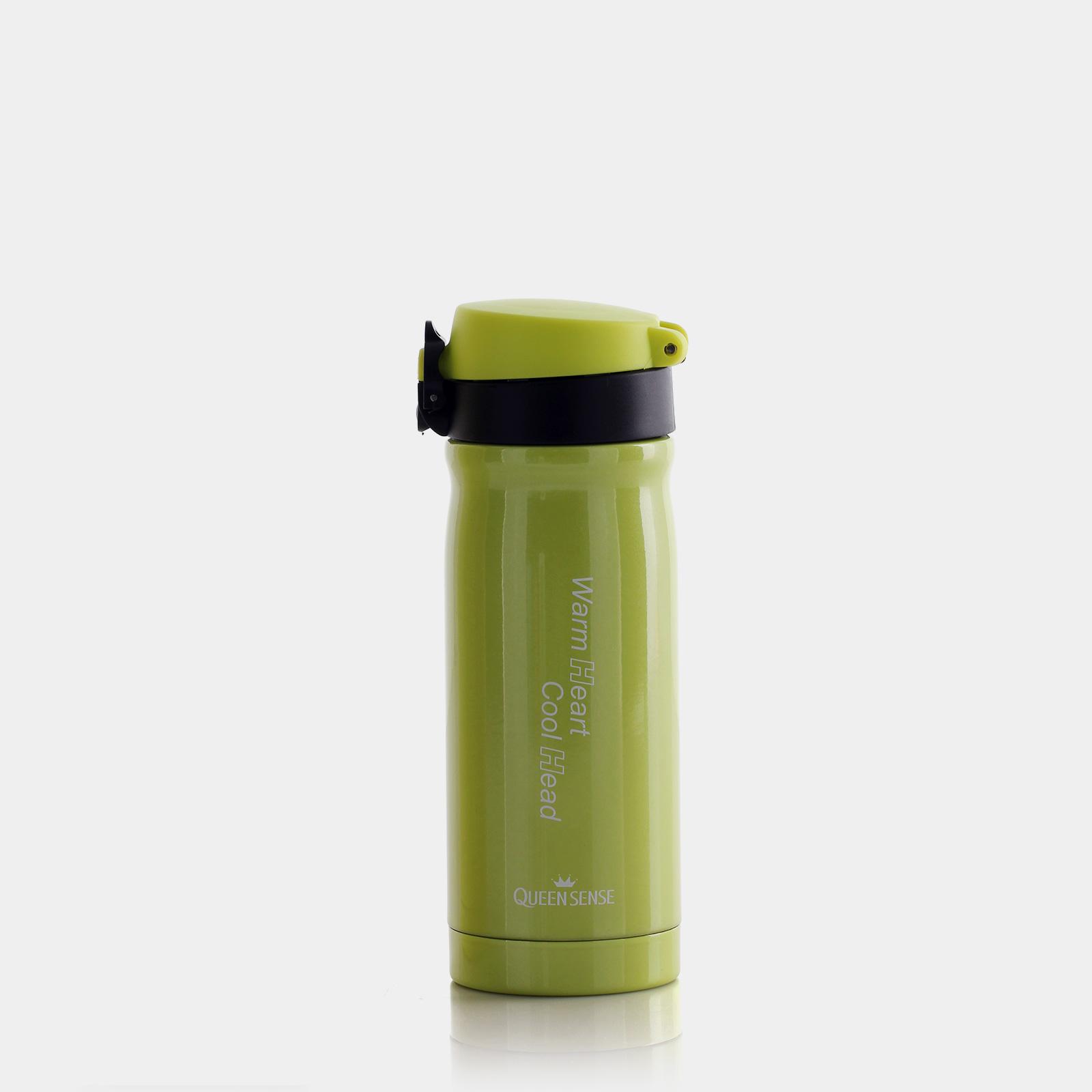 퀸센스 투에이치 스텐 진공 물병(보온,보냉)-350ml(옐로우 그린)
